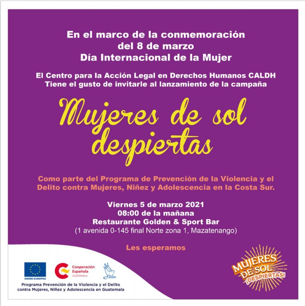 #8Marzo: PREVI-CALDH lanzan campaña y apoyan acciones por la igualdad de las Mujeres en la Costa Sur
